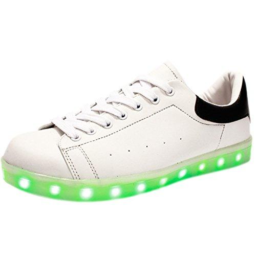 Oasap Damen Schürband USB Aufladung 7 Farbe LED Sneakers Weiß