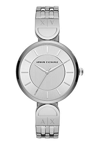 Armani Exchange Damen-Armbanduhr Analog Quarz One Size, silberfarben, Silber