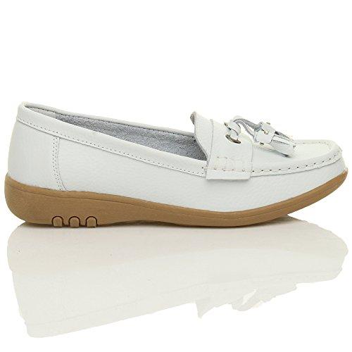 Salto Couro baixos Confortáveis Cunha Botas Senhoras Mocassins Tamanho Brancas Borla Sapatos Pequeno q5tY0H