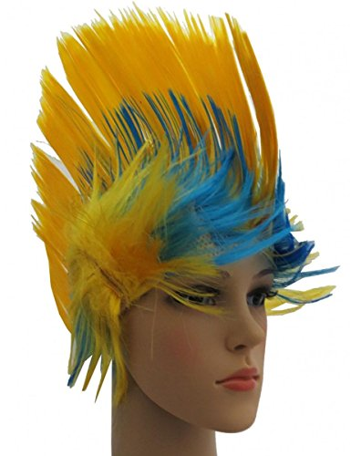 ücke Irokese IRO Kopfbedeckung WM EM Fan Party Fasching Karneval Farbe Schweden ()