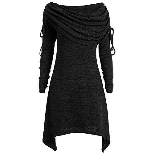 iHENGH Damen Plus Size Damenmode solide Geraffte Lange Foldover Kragen Tunika Frauen Bluse Tops (5XL, Schwarz)