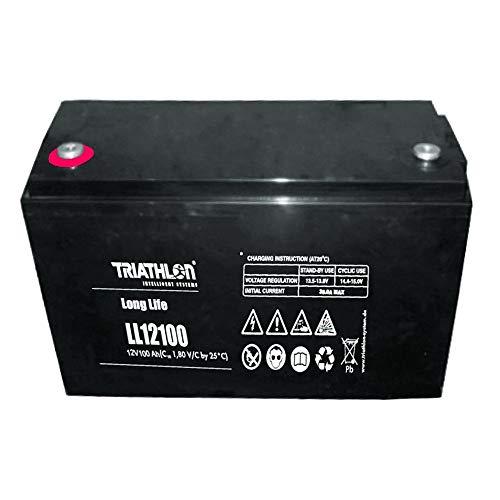 Triathlon Long Life AGM Batterie 12Volt 100AH wartungsfreier verschlossener VLRA 12Jahres Akku(Valve Regulated Lead Acid)
