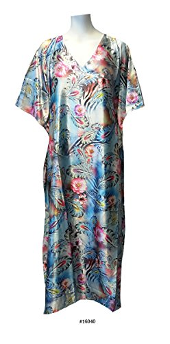 Ladies Blue Floral Border Print Soft Silky Satin Long Kaftan/Casual Dress. One Size Fit All:- UK 10-32