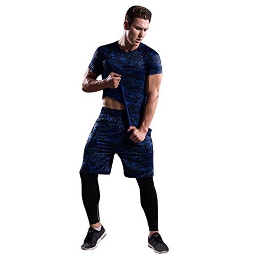 Pants Herren,Binggong Mann Trainings Gamaschen Eignungs Sport Gymnastik laufende Yoga athletische Hosen Hemd Klage Sportbekleidung Jogging Fitnessanzug Moderne Stoffhose (Blau, XL)
