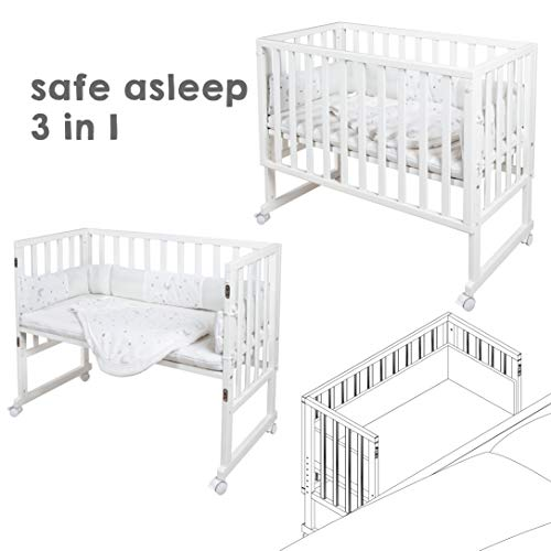 """safe asleep von roba Beistellbett, Stubenbett 3 in 1  \""""Sternenzauber\""""  weiß, Babybett & Kinderbank aus Holz inkl. kompletter Ausstattung & Schlafsack"""