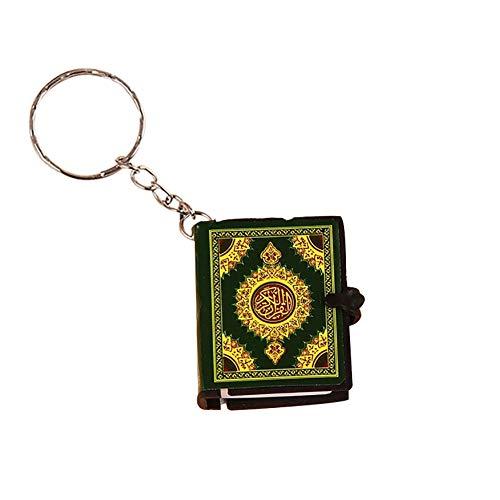 PERIWIN Schlüsselanhänger, Unisex, Mini-Koran, arabischer Anhänger, Schlüsselanhänger, Tasche, Auto, zum Aufhängen, Geburtstagsgeschenk, goldfarben, grün