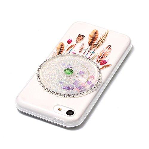 iPhone 5C Hülle, Kreativ Design 3D Transparent Soft Silikon Hülle Case Dynamisch Heart-shaped Treibsand Liquid Fließen Flüssig Schwimmend Tasche Handyhülle Glitter Glitzer Sparkle Hart TPU Bumper Crys 4