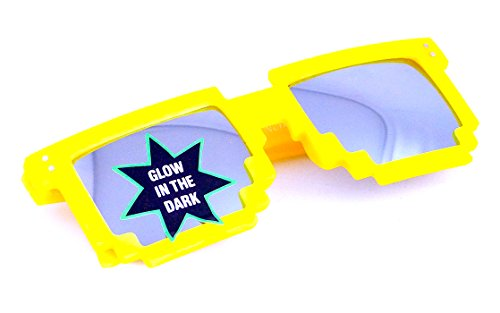Nerd-Brille leuchtend Gelb Verspiegelt 16cm Herren Damen Unisex Panto-Brille Lese-Brille Wayfarer UV-Schutz Nerd-Brille Geek-Brille Yellow Glow Dark