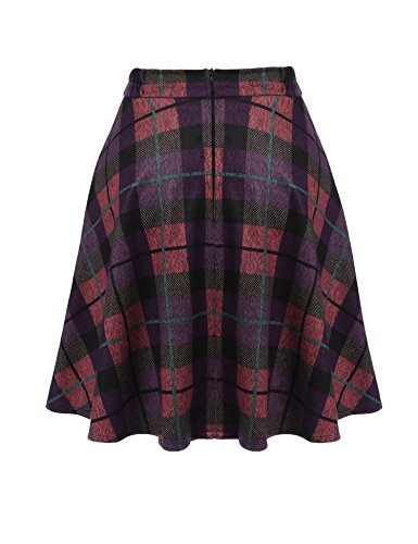 UNibelle Gonna Corta Svasata Mini Gonna Versatile Elastica Solida Scozzese Gonna Plaid Pieghe Mini Gonna S-XL