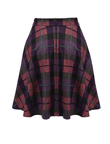 UNibelle Damen Kariert Röcke Faltenröcke Kariert Röcke Minirock kurz Skirt Schuluniform Cosplay Rock Lila-Rosa XL
