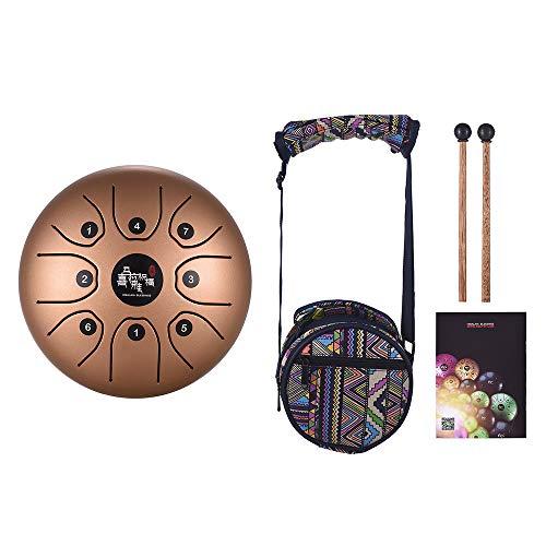 Muslady Tamburo in Acciaio C Chiave 5,5 Pollici Mini 8-Tone Strumento a Percussione Tamburo Handpan con Bacchette per Tamburi Trasportare Borsa Oro