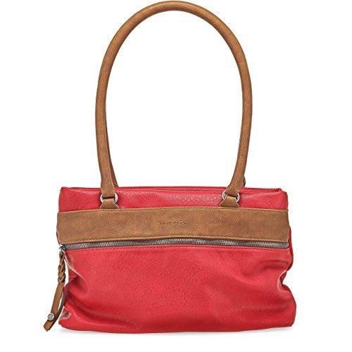 TAMARIS KAREN Damen Handtasche, Schultertasche, Bicolour, 3 Farben: nude beige, light blue oder rot, Farbe:rot comb (Leder-taschen Blue Light)