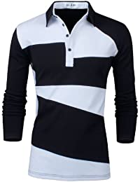 Tom's Ware- Deux Tons Polo a Manches Longues-Hommes