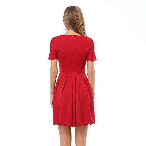 La Vogue Robe Mini Manche Courte Col V Empire Évasé Décontracté Vintage Rouge