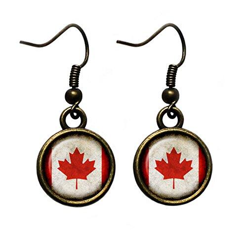 Canada Canadian Kanada Kanadische Flagge Antike Bronze Ohrringe
