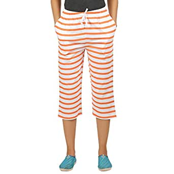 Clifton Womens Small Stripes Comfort Capri-Deep Orange-XS