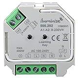 Jetzt auch per Funk/WiFi Hochvolt schalten: iluminize Funk Schalt-Aktor Mini, 1 Kanal 230V, 400W, schalten per Funk mit iluminize Hand-Fernbedienung, Wand-Dimmer, Desk-Dimmer oder WiFi-Bridge
