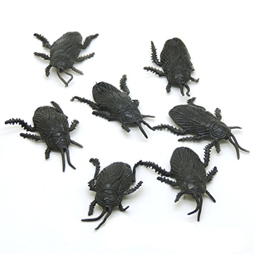 Samgoo 50 Stück Kakerlake Plastik schwarz Halloween (Kostüme Kakerlake Kind)