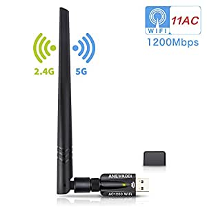 ANEWKODI Wifi Adapter USB 1200Mbit /s Wlan Wifi Stick Dualband (5G/866Mbps + 2.4 G/300Mbps) Wireless Wifi Dongle mit 5dBi Antenna USB 3.0 für Windows 10/8.1/8/7/VISTA, Mac OS X, Linux PC/Desktop/Laptop [2018 Aktualisierte Version]