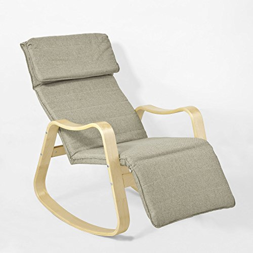 SoBuy® Nuevo! Sillón de relax, Mecedora con reposapiés ajustable flexible de abedul, Sillón de diseño, FST37-BR, ES
