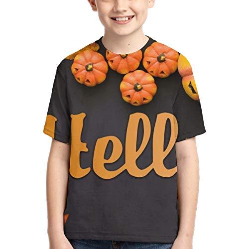 n Thema Kürbisse Hallo Teenager Jungen Mädchen Jugend Kurzarm T-Shirt T(XS,Schwarz) ()