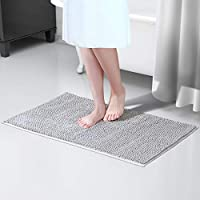 Lifewit Non-slip 80cm x 50cm Chenille Bath Mat Bathroom Microfiber Shower Rug Grey
