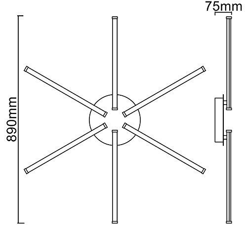 Trango 6-flammig Design Deckenleuchte mit 3-Stufen dimmbar inkl. 6x LED Module (6x500Lumen – 6×5.0W) – 3000K warm-weiß – Nickel/chrom TG3154