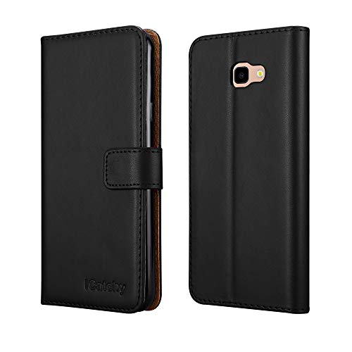 iCatchy for Galaxy J4 Plus Case Leather Wallet Flip Book Stand View Card Holder for Samsung Galaxy J4 Plus 2018 Cover (Black)