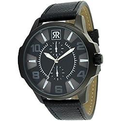 r-fight-homme-quartz-cuir véritable-noir