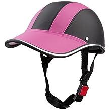 Casco de Abierta Casquillo Sombrero Motocicleta Motocross Mitad Cara Visera Correa Ajustable Protección - Rosa