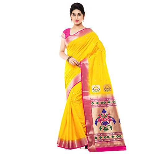 Varkala Silk Sarees with Blouse Piece (NYJB5005GDRN_Yellow_Free Size)