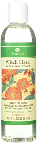 Witch Hazel Face & Body Toner Infused with Geranium Rose Hip 8 Ounces by Bretanna
