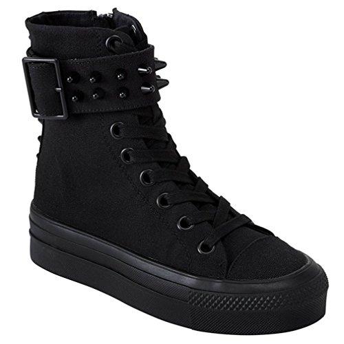 Killstar Zapatillas de Material Sintético Para Mujer Negro Negro One Size, Color Negro, Talla 40 EU