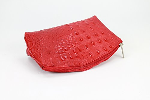 """BELLI """"Bellini"""" kleine Leder Kosmetiktasche Make Up Tasche - Alle Farben zur Auswahl - 18x13x5 cm (B x H x T) Rot kroko"""