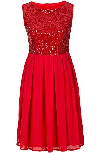 Mesdames Robes Habillées Courtes Sans Manche Transparent D'Été Robes Rétro Robes De Soirée Rouge