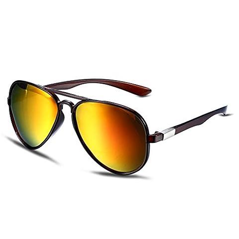Hmilydyk classique Aviator Lunettes de soleil polarisées Premium vintage réfléchissant complète Miroir UV400Lunettes pour femme, Brown Frame with Gold Lens