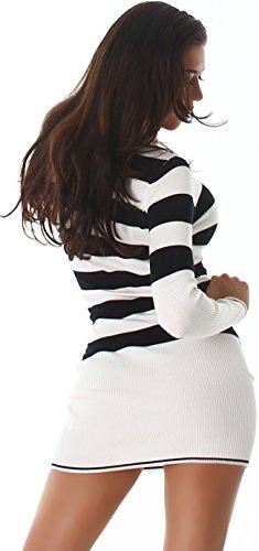 Jela London Damen Pullover Longpulli Strickkleid Pullikleid Streifen V-Ausschnitt Stretch Slim-Fit 34 36 38 Lang - Weiß