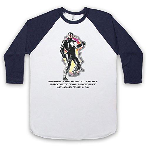 Inspiriert durch Robocop Prime Directives Unofficial 3/4 Hulse Retro Baseball T-Shirt Weis & Ultramarinblau