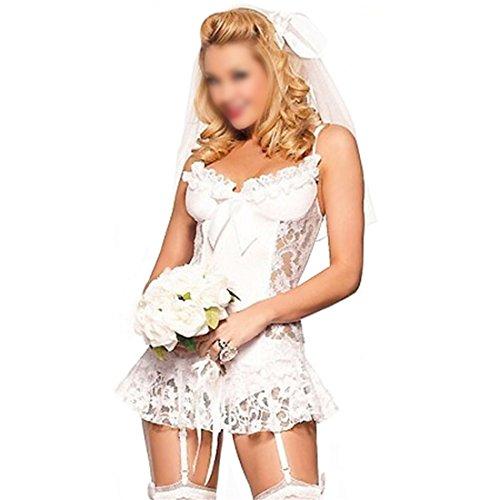 GWELL Damen Braut Kostüm Reizvolles Cosplay Reizwäsche 4-teilige Lingerie Dessous Set Babydoll mit Kopfschmuck Unterhose Stumpfhalter Weiß M