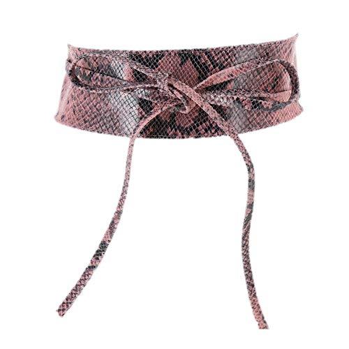 Fashiongen - Damen Obi Gürtel aus echtem Leder, CASSIANE - Rosa Python, S-M / 36-38