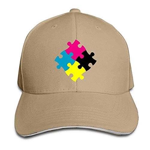 VTXWL Funny Hat Baseball Cap Unisex Sandwich Peaked Cap Colorful Jigsaw Puzzle Art Adjustable Cotton Baseball Caps