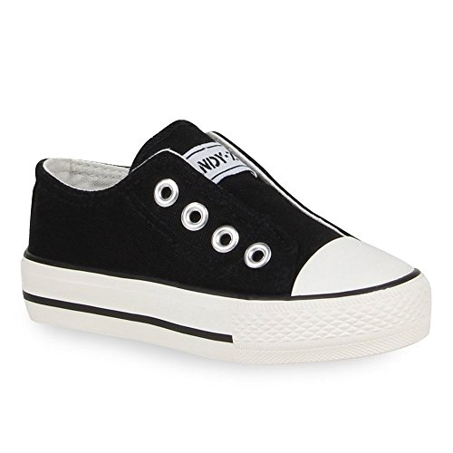 Kinder Sneakers Slip-ons Sportschuhe Slipper Trend Schuhe Schwarz