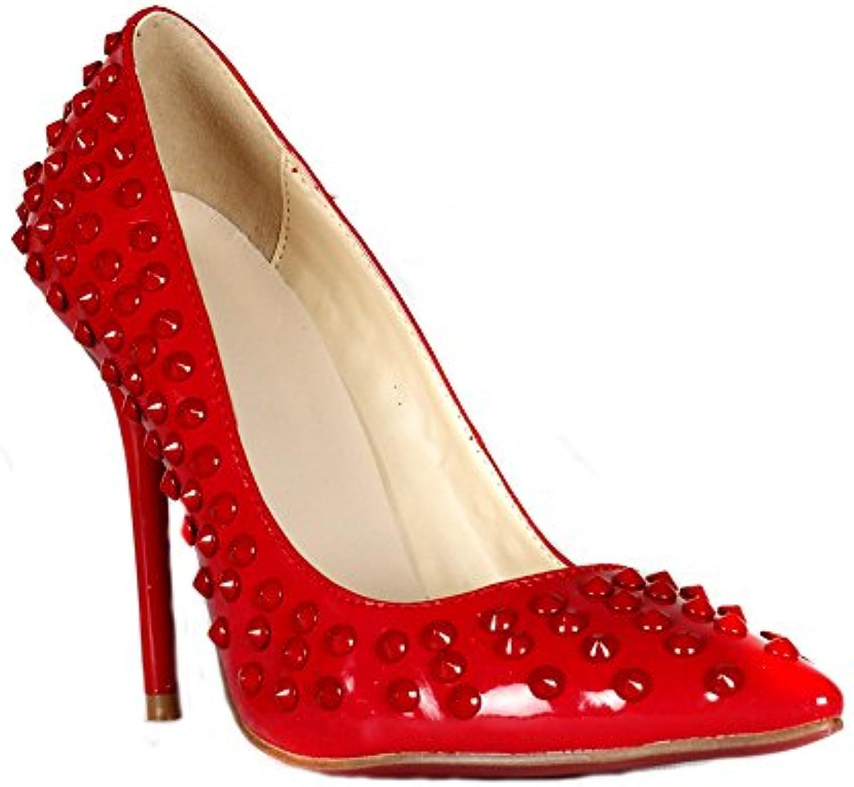 Lacitena Mujer de Las Señoras del Talón del Dedo del pie Bombas Puntiagudas del Remache Vestido de Baile de Promoción... -