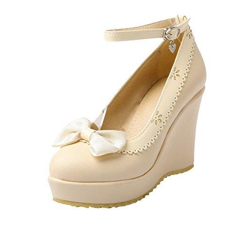 AllhqFashion Femme Boucle Pu Cuir Rond à Talon Haut Couleurs Mélangées Chaussures Légeres Beige