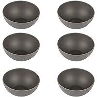 Pandoo - Juego de 6 cuencos de bambú, sin BPA, aptos para alimentos, para pícnic y camping, para el uso diario, aptos para lavavajillas y apilables, Negro , small