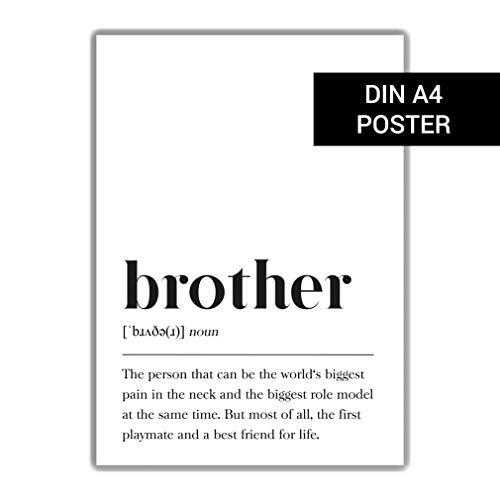 DIN A4 Poster: Definition Bruder (Englisch), Geburtstagsgeschenk für Zimmer/Wohnung Plakat Wörterbuch, Poster mit Text, Skandinavisch Schwarz Weiß