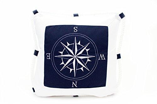 Kissenbezug Niels 40x40cm Kissenhülle maritim Kompass mit Kordel Tau Seil Sea Sommer weiß blau Seemann Seefahrt Schifffahrt Leinen Leinenoptik Dekokissen