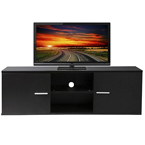 ... MDF TV Cabinet LCD Unit Stand,Black With 2 Cabinet Plus A 2-Tier Shelf