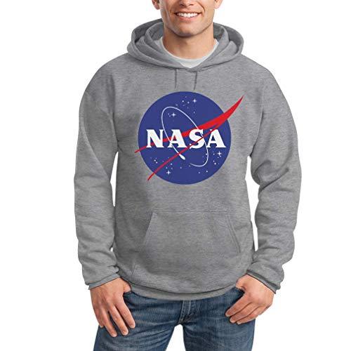 Nasa logo galaxy streetwear outfit felpa con cappuccio da uomo large grigio