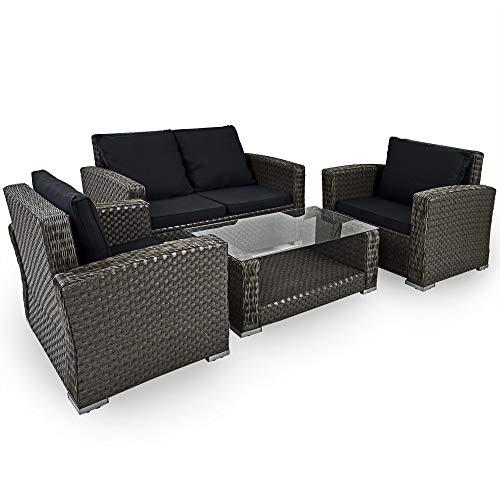 Deuba Poly Rattan Lounge Set Grau I 7cm Dicke Auflagen I 2 Sessel & Bank I Tisch + Glastisch Garten Gartenmöbel Balkon